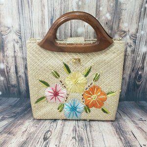 Vintage Straw Flower Embellished Wooden Handle Bag
